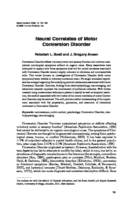 Download Neural correlates of motor conversion disorder