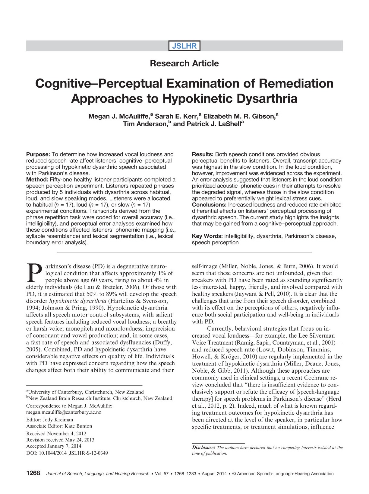 Download Cognitive-perceptual examination of remediation approaches to hypokinetic dysarthria.