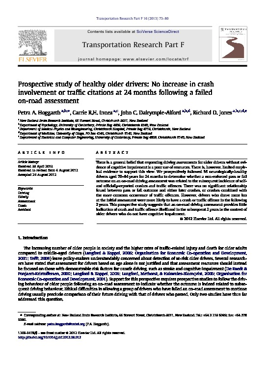 Download Prospective study of healthy older drivers: No increase in crash involvement or traffic citations at 24 months following a failed on-road assessment.