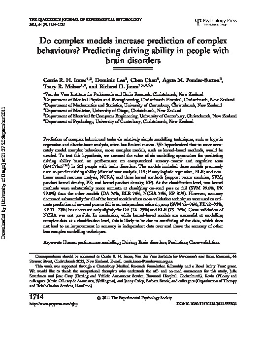 Download Do complex models increase prediction of complex behaviours? Predicting driving ability in people with brain disorders.