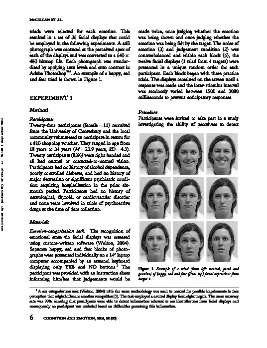 Download Sensitivity to genuine versus posed emotion specified in facial displays.