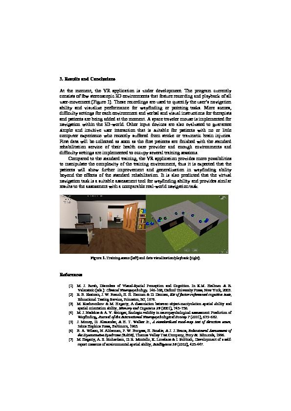 Download Virtual reality rehabilitation of spatial abilities after brain damage.