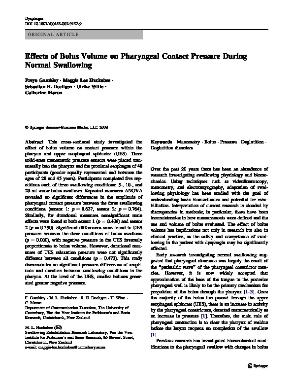 Download Effects of bolus volume on pharyngeal contact pressure during normal swallowing.