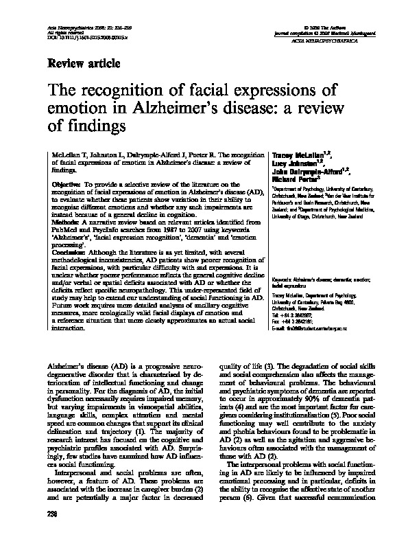 Download The recognition of facial expressions of emotion in Alzheimer's disease: A review of findings.