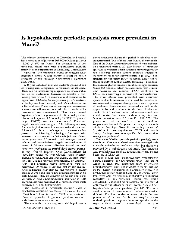 Download Is hypokalaemic periodic paralysis more prevalent in Maori.
