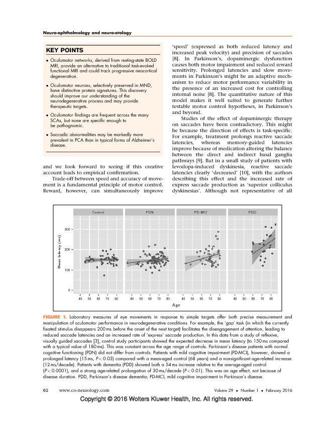 Eye movements in neurodegenerative diseases