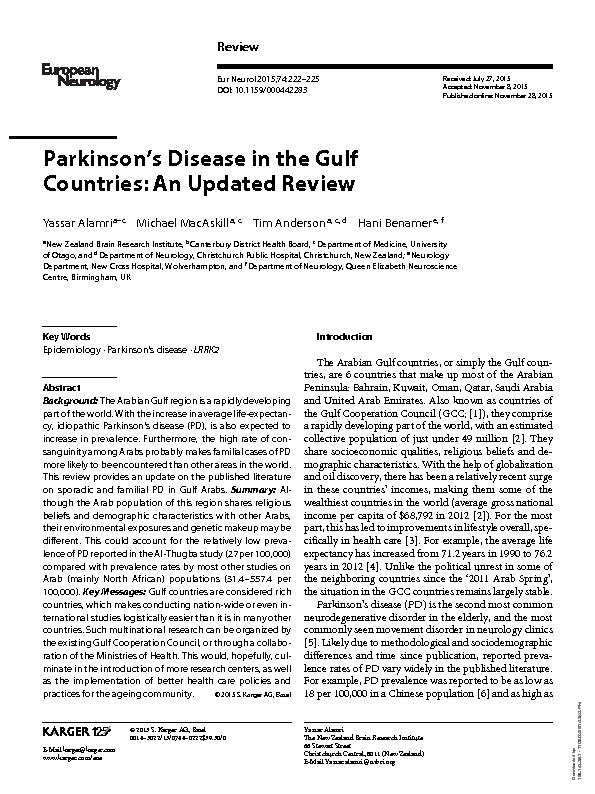 Download Parkinson's disease in the Gulf Countries: An updated review.