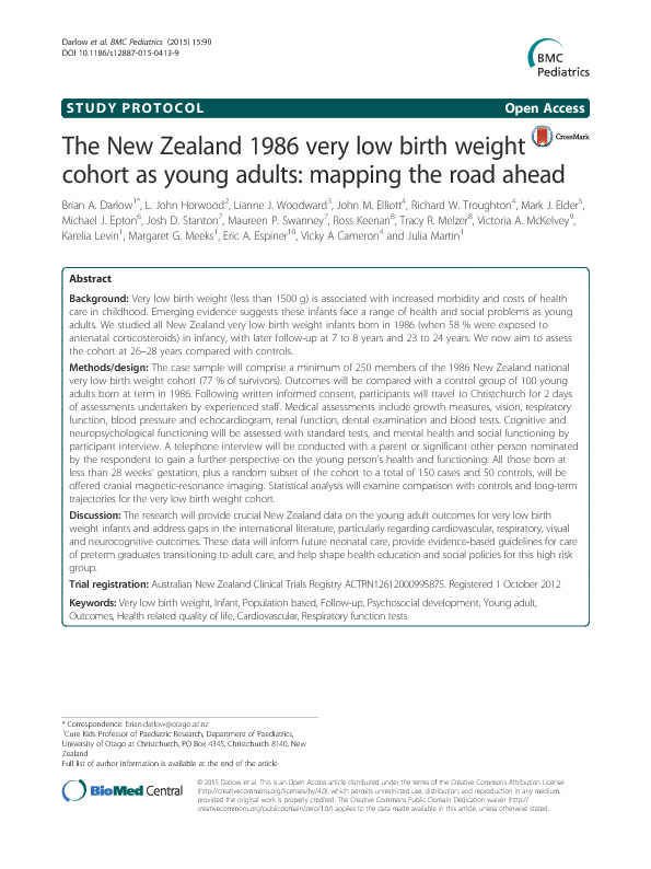 Download The New Zealand 1986 very low birth weight cohort as young adults: mapping the road ahead.
