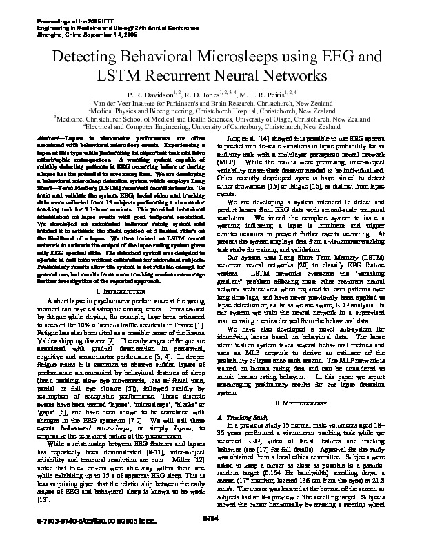Download Detecting behavioral microsleeps using EEG and LSTM recurrent neural networks.