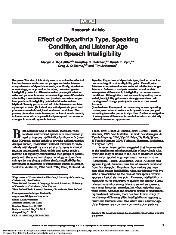 Download Effect of dysarthria type, speaking condition, and listener age on speech intelligibility.