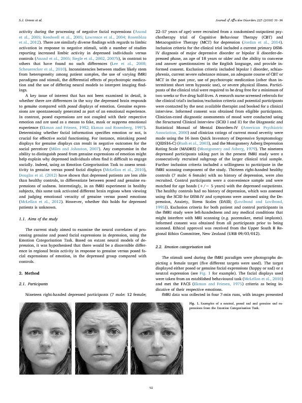 Download Brain activation during processing of genuine facial emotion in depression: Preliminary findings.