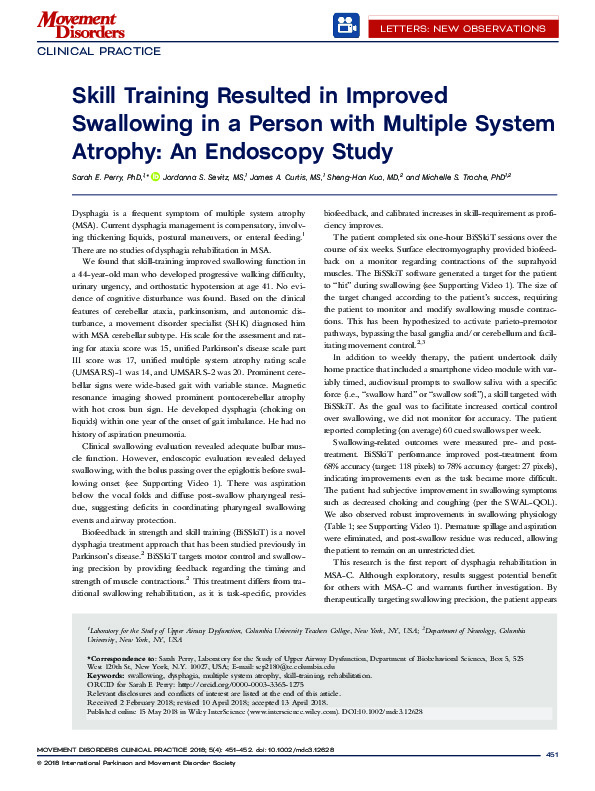 Download Skill-training resulted in improved swallowing in a person with multiple system atrophy: An endoscopy study.