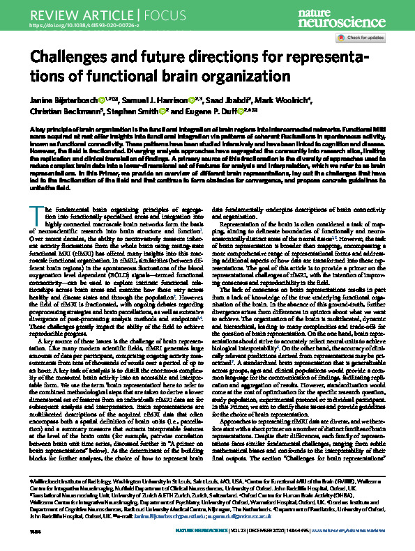 Download Challenges and future directions for representations of functional brain organization.