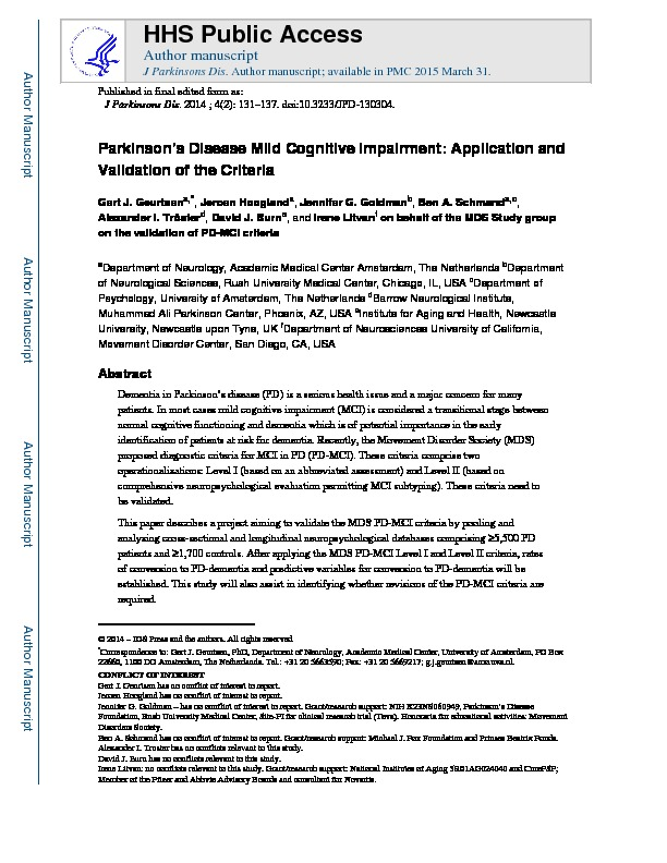 Download Parkinson's Disease Mild Cognitive Impairment: Application and Validation of the Criteria.